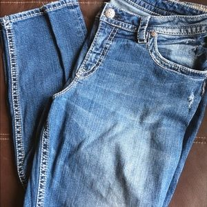 Silver Lola Distressed Boyfriend Skinny Jeans